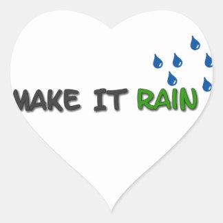Gör det att regna hjärtformat klistermärke