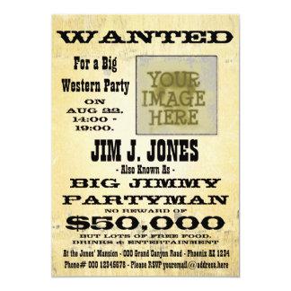 Gör det westerna partyet önskat 12,7 x 17,8 cm inbjudningskort