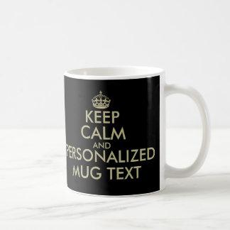 Gör din egna behålla att lugna guld för fauxen för kaffemugg