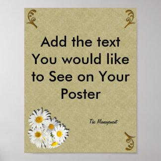 Gör din egna mall, den bruna crosshatchen, daisy poster