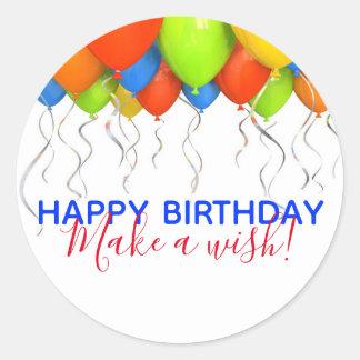 Gör en Wish stora födelsedagklistermärkear Runt Klistermärke