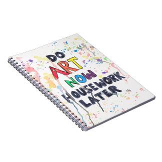 Gör konst nu, mer sistnämnd hushållsarbete anteckningsbok med spiral