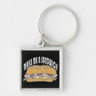 Gör mig en smörgås fyrkantig silverfärgad nyckelring