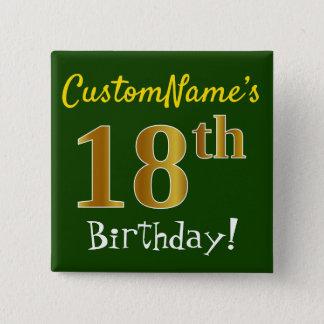 Göra grön den 18th födelsedagen för Fauxguld, med Standard Kanpp Fyrkantig 5.1 Cm