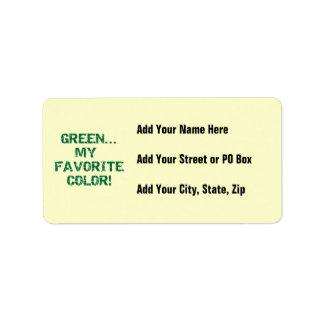 Göra grön min favorit- färgT-tröja och gåvor Adressetikett