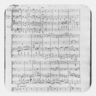 Göra poäng för trio för piano, fiol och fyrkantigt klistermärke