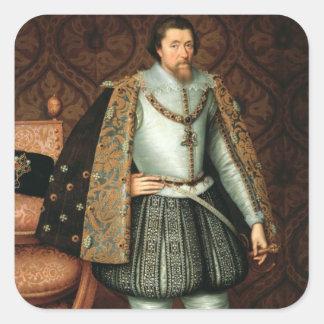 Göra till kung James mig av England (1566-1625) Fyrkantigt Klistermärke