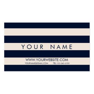 Görad randig marinblå & elfenbenkräm set av standard visitkort