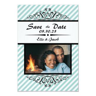 Görade randig blått sparar datera - fotokort för 8,9 x 12,7 cm inbjudningskort