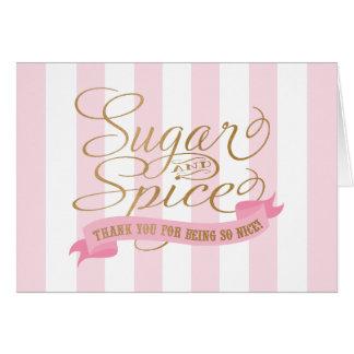 Görade randig rosor sockrar och kryddar tackkort OBS kort