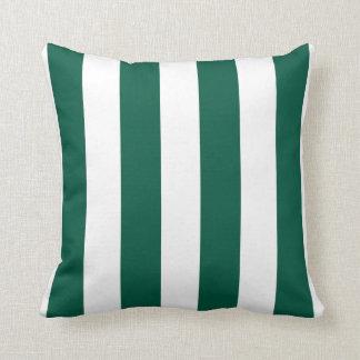 Görade randig smaragdgrönt och vit kudde