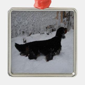 Gordon Setter i en Snowstormprydnad Julgransprydnad Metall