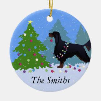 Gordon Setter som dekorerar träd i för Julgransprydnad Keramik