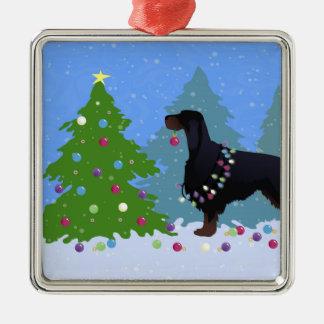 Gordon Setter som dekorerar träd i för Julgransprydnad Metall
