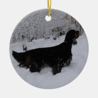 Gordon Setters i en Snowstormprydnad Julgransprydnad Keramik