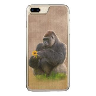 Gorilla och gultdaisy carved iPhone 7 plus skal