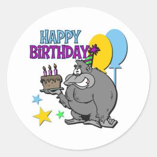 Gorillafödelsedaggåva Rund Klistermärke