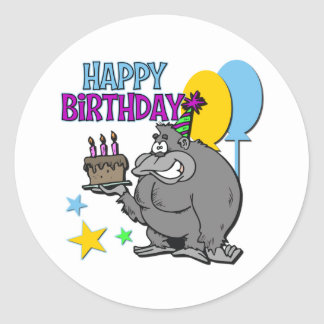 Gorillafödelsedaggåva Runt Klistermärke