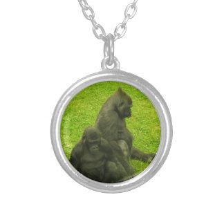 Gorillor av afrikan, primat, fotografi silverpläterat halsband
