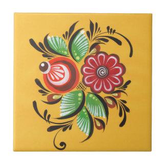 Gorodets blommor liten kakelplatta