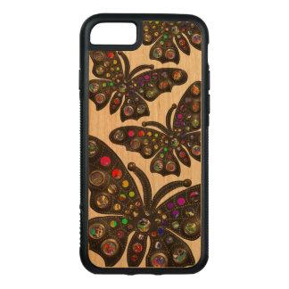 Goth bohemiskt skraj fjärilsfodral carved iPhone 7 skal