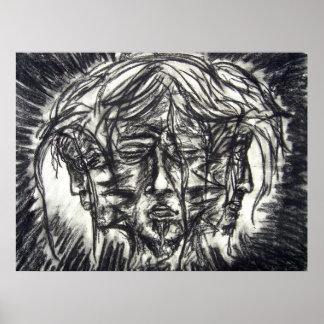 Goth för tre ansikten svartvitt kol poster