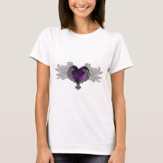 Goth purpurfärgad hjärta med ängelvingar tröjor
