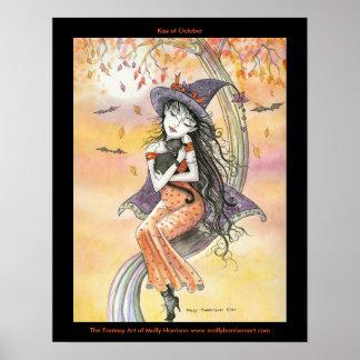 Gotisk affisch för Halloween häxakatt