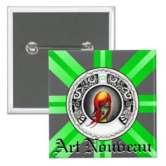 Gotisk art nouveaukvinna standard kanpp fyrkantig 5.1 cm