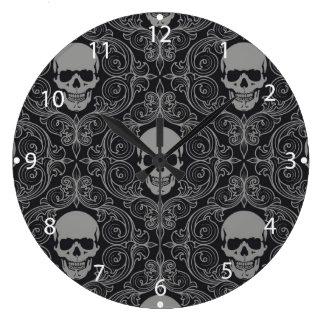 Gotisk blommigt för skallemönstergrått och för stor klocka