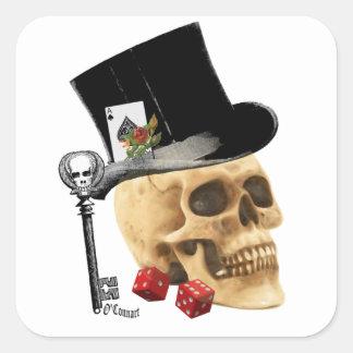Gotisk design för spelareskalletatuering fyrkantigt klistermärke