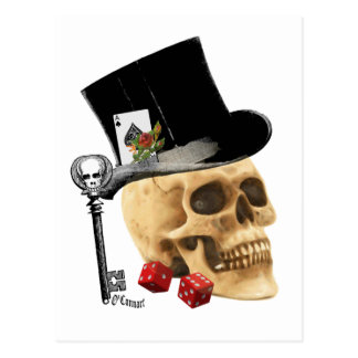 Gotisk design för spelareskalletatuering vykort