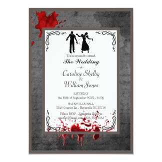 Gotisk elegant bröllopinbjudan för Zombie 12,7 X 17,8 Cm Inbjudningskort