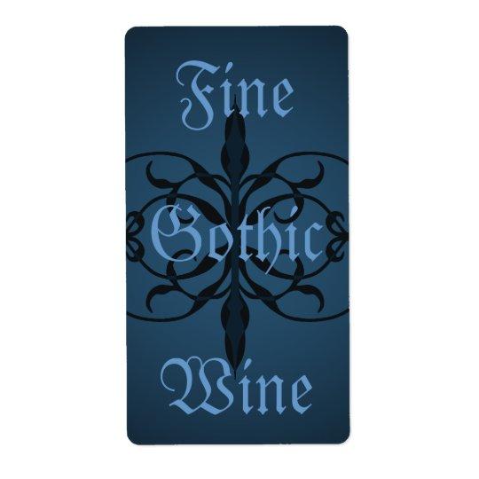 Gotisk lång flaskaetikett för utsmyckade blått som fraktsedel