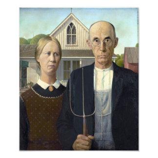 Gotisk målning för amerikan vid anslags- trä fototryck