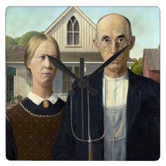 Gotisk målning för amerikan vid anslags- trä fyrkantig klocka