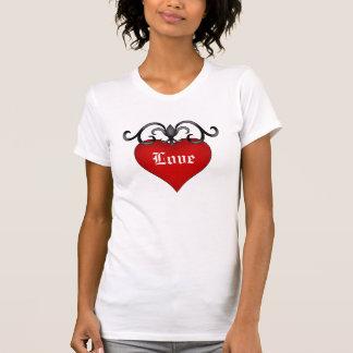 Gotisk medeltida stil för romantisk röd t-shirts