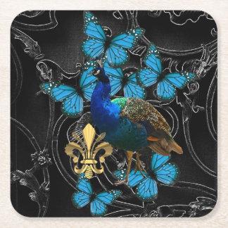 Gotisk påfågel och fjärilar underlägg papper kvadrat