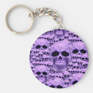 Gotisk purpurfärgad döskallar rund nyckelring