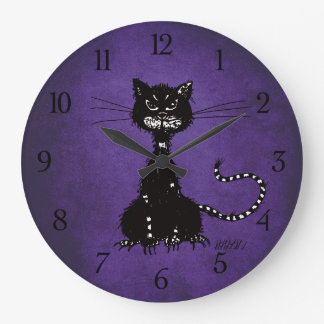 Gotisk purpurfärgad trasig ondskasvartkatt stor klocka