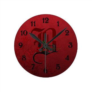 Gotisk rosa Monogram B Rund Klocka