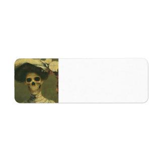 Gotisk skelett- dam Lables Returadress Etikett