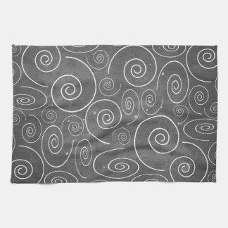 Gotisk svartvit spiralkökshandduk kökshandduk