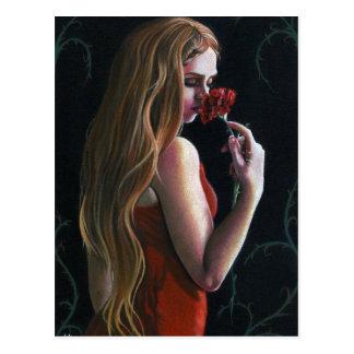 Gotisk vykort för röd nejlika för damblommaröd ros