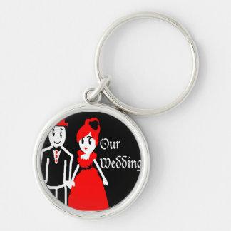 gotiskt bröllop rund silverfärgad nyckelring