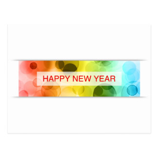 gott nytt år (färgrik bokeh) vykort