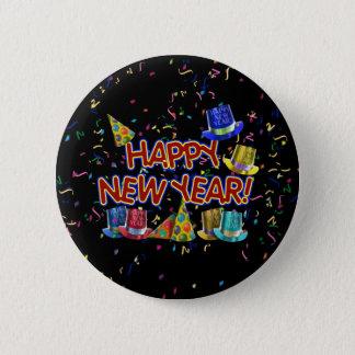Gott nytt år hattar & konfettiar för text w/Party Standard Knapp Rund 5.7 Cm