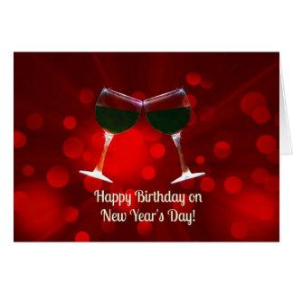 Gott nytt år kort för dagfödelsedag