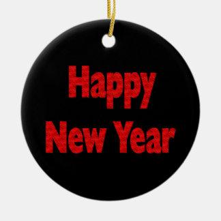 Gott nytt år rund julgransprydnad i keramik