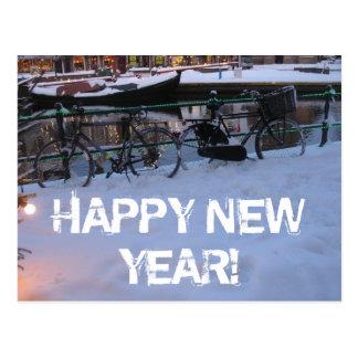 Gott nytt årsnö cyklar vykortet vykort